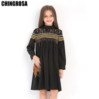 61d72b04f5 CHINGROSA Black Striped Lace Beading Tassel Loose Girls Dresses Princess  Beach Summer Dresses Kids Clothing vestidos