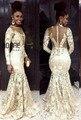 Vestidos apliques de renda branca prom dress 2017 sul africano para as mulheres negras plus size com manga comprida illusion sereia vestidos