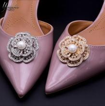 (1pair) luxury fashion double-layer pearl exquisite detachable sparkling  water drill shoe buckle 4c089484ae68