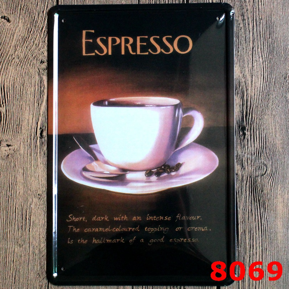 30X20CM Espresso Coffee Vintage Home Decor Tin Sign Pub Wall Decor Bar Metal Sign Vintage Art Poster Retro PlaquePlate