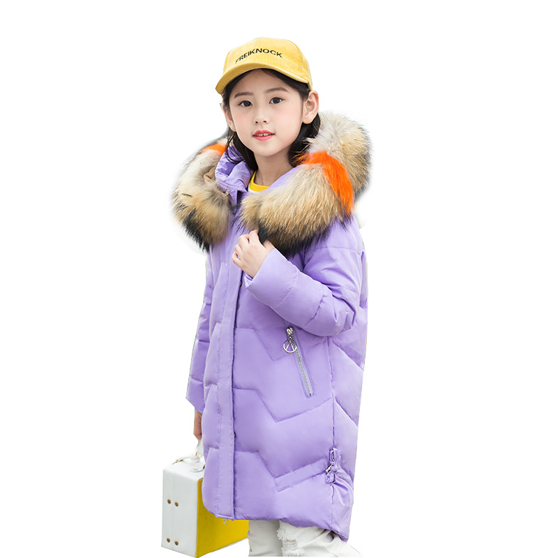 children s winter long white duck down jackets with big fur hooded