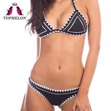 Topmelon Bikini Set Crochet Sexy Women Solid Handmade Triangle Brazilian Bikini Beachwear Bathing Set Women Bikini Suits Biquini