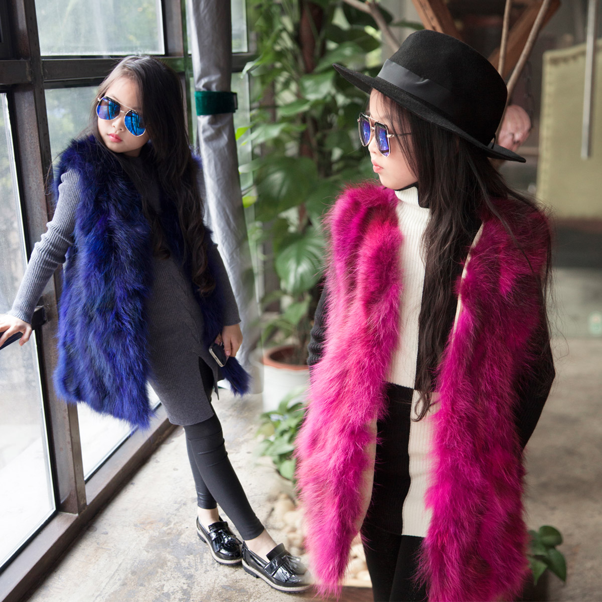 Europe and The United States Childrens Fur Coat Girls High-grade Raccoon Fur Fashion Leisure Long Vest Sleeveless Vest JacketEurope and The United States Childrens Fur Coat Girls High-grade Raccoon Fur Fashion Leisure Long Vest Sleeveless Vest Jacket