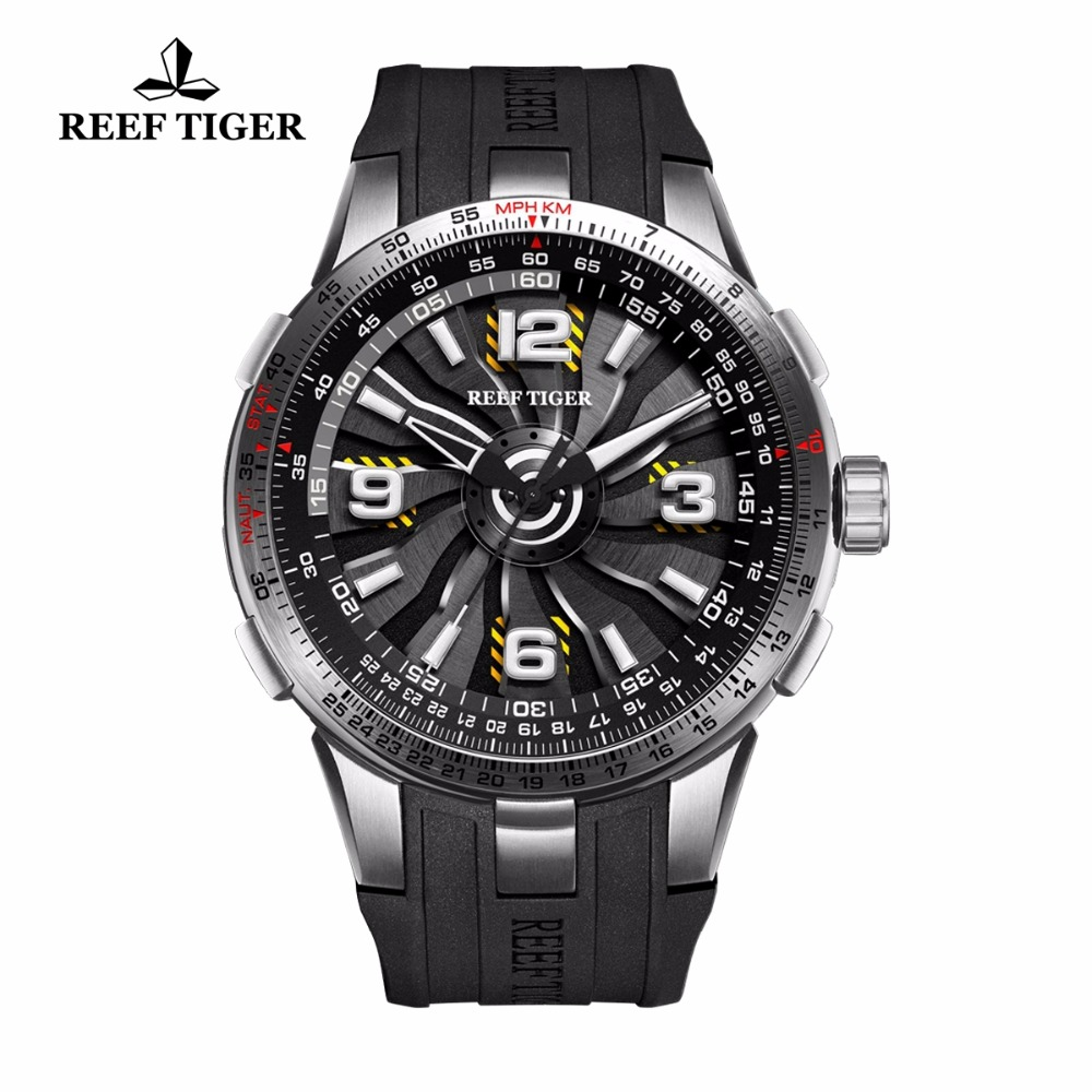 New Reef Tiger/RT Men's Sport Watches Stainless Steel Engine Whirling Dial Military Watches Rubber Strap RGA3059|watches rubber strap|watch stainless|watch stainless steel - title=