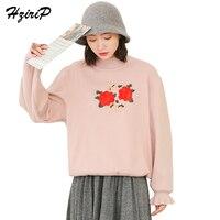 HziriP Turtleneck Floral Embroidered Lantern Sleeve Sweater Womens 2017 Autumn Winter Loose Casual Tops Women Caramel