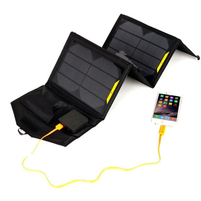 Portátil dobrável 5 V 15 W dupla porta USB carregador solar móvel banco do poder do telefone MP3 MP4 GPS Câmera Do Jogo painéis solares Ao Ar Livre carregamento