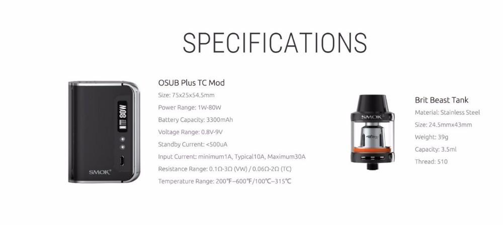 100% Original Smok OSUB Plus TC 80W Kit with Brit Beast tank built-in 3300mAh Battery V8 Baby-Q2 Core e-cig 80w TC Mod_6