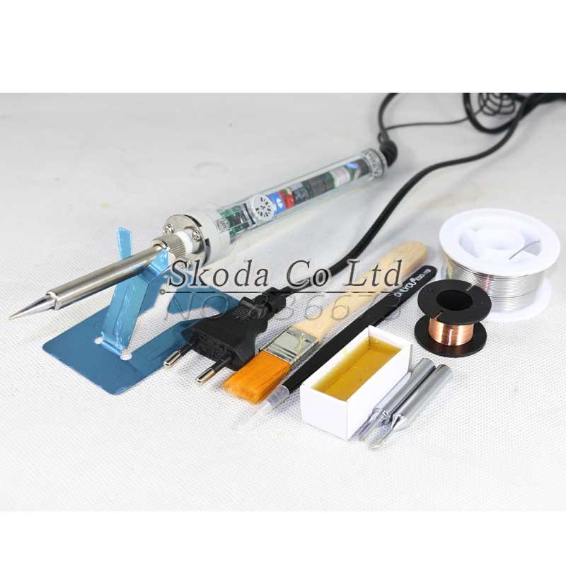 Free Shipping EU Plug GJ 907 Soldering Iron Set Adjustable Constant Temperature Electric Soldering Iron+tin Wire+iron Tips+rosin
