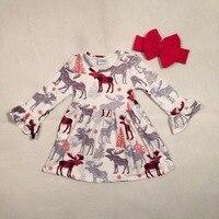 Baby Girls Boutique Christmas Dress Girls Cotton Moose Reindeer Dress Ruffle Children Fall Moose Cotton Dress