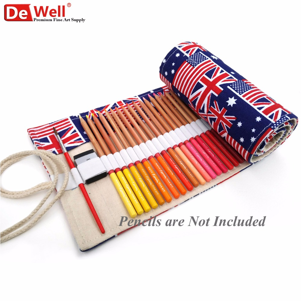 British Style 36/48/72 Holes Vintage Pencil Bag Canvas Color Pencils Case Wrap Roll Up School Meter Word Flag Gift Art Supplies perfect pencil case pencil bag feather sleeve pencil case for 72 pen color blue