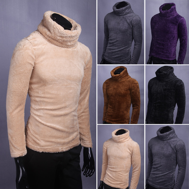 Winter keep warm men's inner sweaters Flocking Faux fur sweater high neck BasicThicken sweater male pullovers homme MQ388