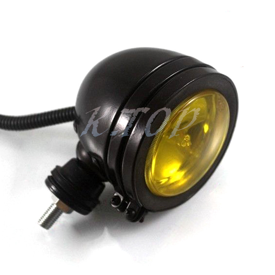 Black Retro Motorcycle Amber Lens Spot Light Fog Passing Thread How Do You Wire The Lights Wire2 Size10 X 95cm Size 10mm Can Be Used As Head Lightdriving Lightsfog To Fit Harleyamerican Or Metric Choppers