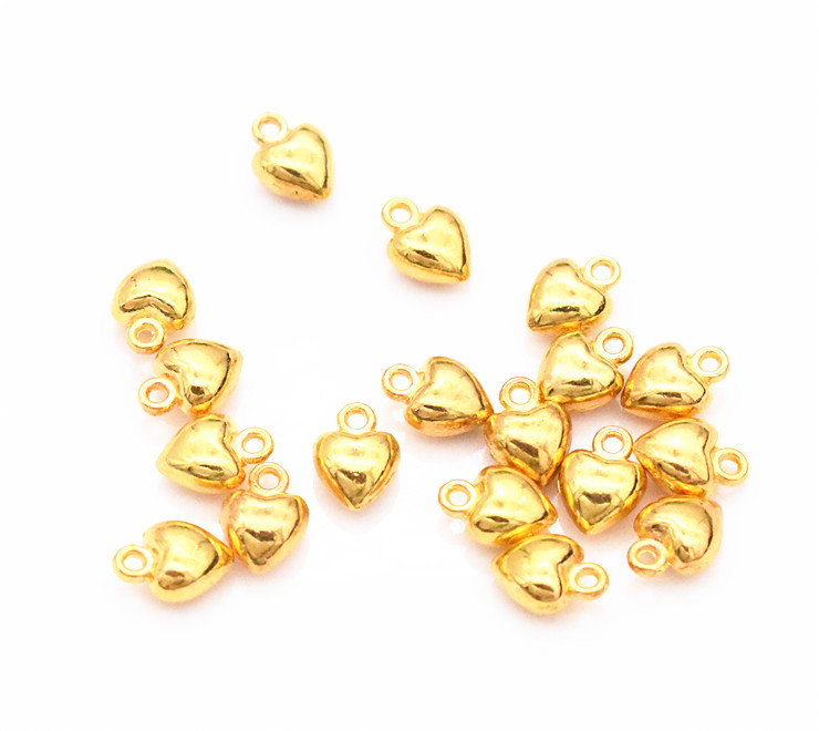 30pcs/lot 9x7mm Gold Color Plated Cute Heart Charm Pendant DIY Handmade Jewelry Accessories