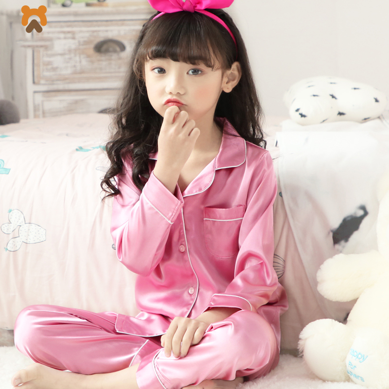 Summer Girls Pajamas Clothing Sets Long Sleeve Cartoon Solid Kids Sleepwear Clothing Set Casual Rayon Pajamas Set For Girls Kids