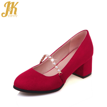 J&K 2017 Big Size 33-43 Elegant Bead Strap Women's Pumps Shallow Boat Shoes Slip on Thick Heeled Nubuck Round toe Women's Shoes