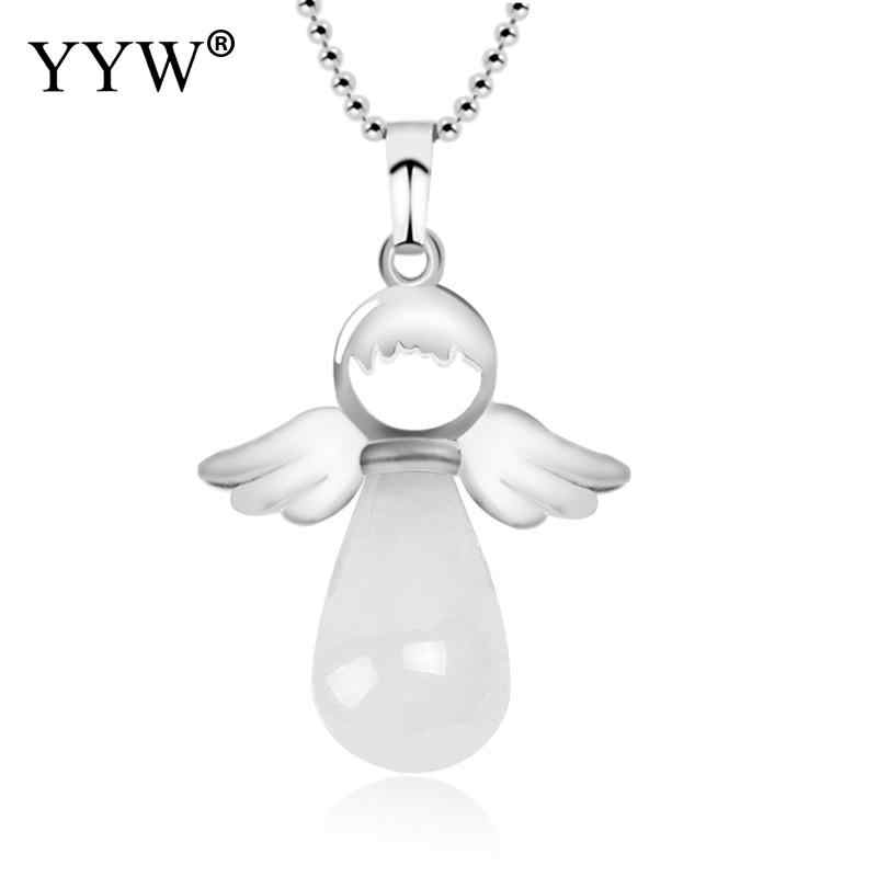 YYW Trendy Natural Stone Angel Wings Pendant Necklace Jewelry Pink Quartz Onyx Silver Color Water Drop Female Pendulum Gift 2019