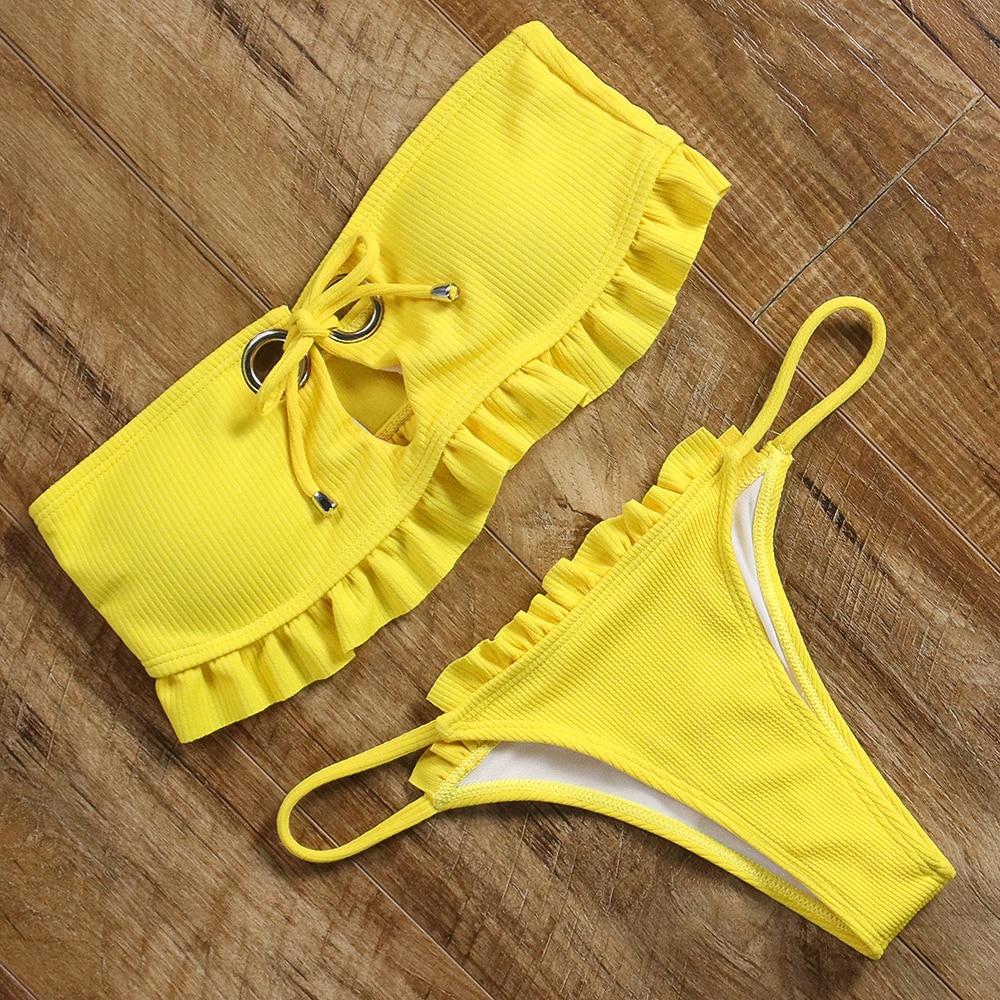 Ruffle bandeau bikini 11