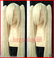 ePacket Free shipping  NEW Cosplay Platinum Blonde wig + 100cm Clip On Ponytails