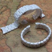 Nuevas Correas de Reloj Correa de Cerámica De Alta Calidad de la Pulsera curved end 18mm 22mm Pulido durante horas Parejas correa de accesorios aptos 1473