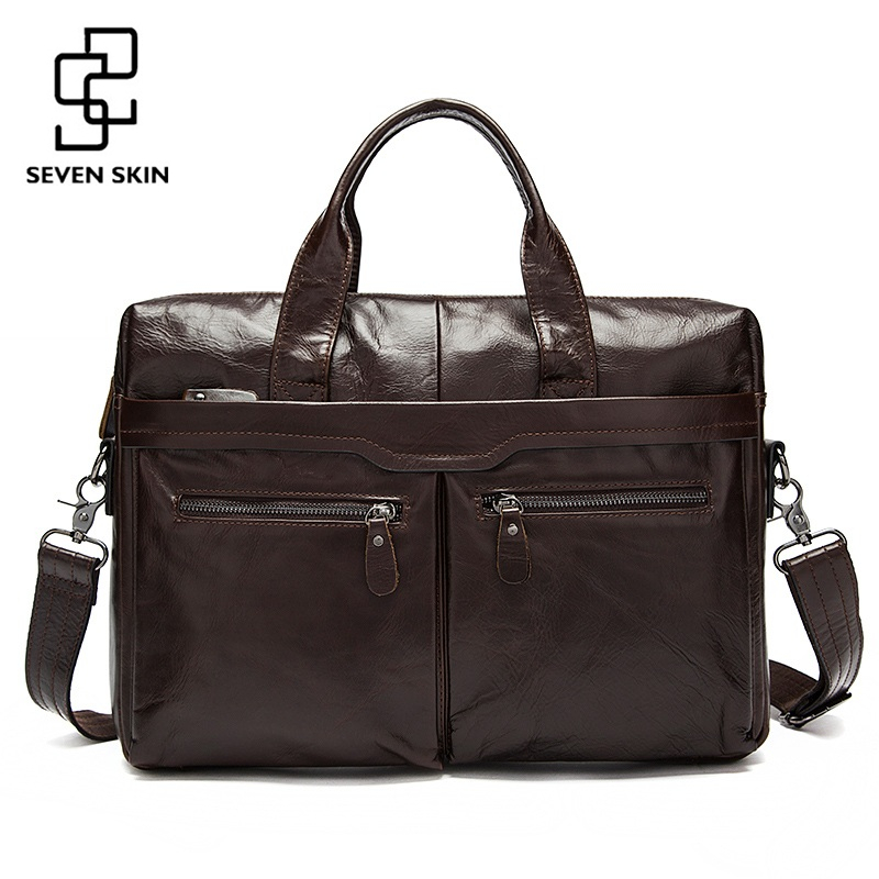 Genuine Leather Men Bags Business Briefcase Men's Laptop Bag Man Vintage Crossbody Shoulder Handbag Male Messenger Bag Portfolio genuine leather men bags messenger bag leather man shoulder crossbody mens bag business laptop briefcase men handbag laptop bags