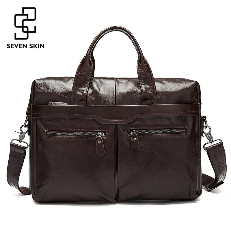 Genuine Leather Men Bags Business Briefcase Men's Laptop Bag Man Vintage Crossbody Shoulder Handbag Male Messenger Bag Portfolio
