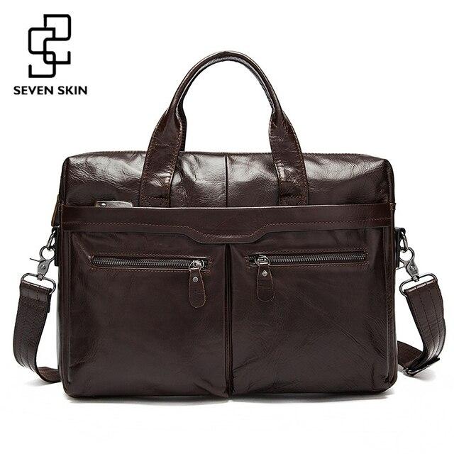 bf2a1714ea7 Genuine Leather Men Bags Business Briefcase Men's Laptop Bag Man Vintage  Crossbody Shoulder Handbag Male Messenger