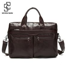 Genuine Leather Men Bags Business Briefcase Mens Laptop Bag Man Vintage Crossbody