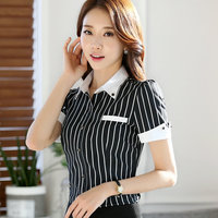 Fashion Black White Stripe Shirt Female Summer Short Sleeve Formal OL Work Wear Tops Women S