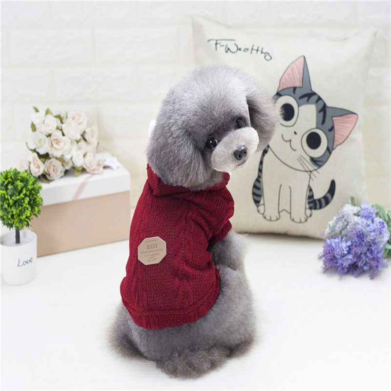 Lovoyager Dog Sweaters Knitted Floral Pattern Sweater for Small Dogs Dachshund Designed Dog CLothing In Color Red Blue Gray