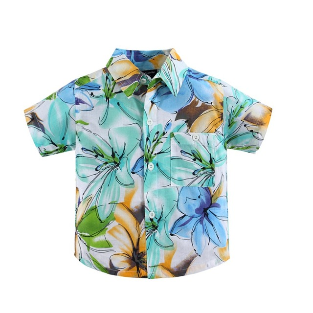 774beb4051 Algodão 100% camisa floral camisa havaiana aloha shirt para o menino T1526