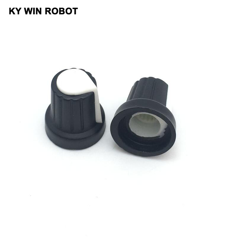 10 Pcs 6mm Shaft Hole Dia Plastic Threaded Knurled WH148 Potentiometer Knobs Caps 15MM * 17MM White