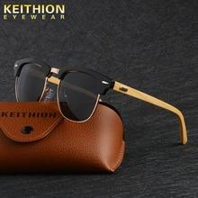 KEITHION Brand Design Sunglasses women Polarized Vintage Round Bamboo Leg Color Eyewear Female Male sun glasses Uv400