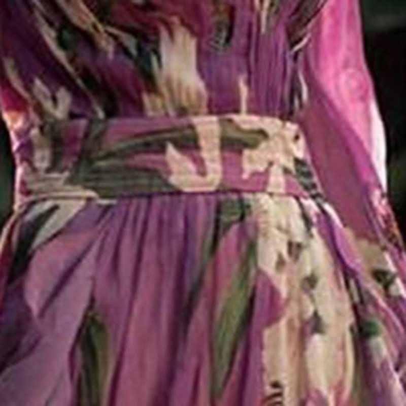 Tím Họa Tiết Hoa Đảng Áo Dài Nữ Đi Biển Mùa Hè Áo Thun Nữ Tay Dài Gợi Cảm Cổ V Sâu Boho Ngày Lễ Vintage Đầm Maxi áo