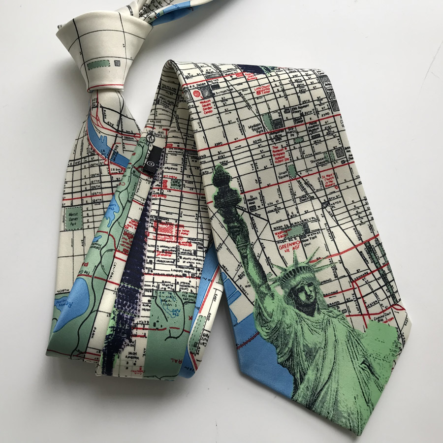 9cm Designer Men s Printed Necktie USA Map US Statue of Liberty Pattern Unique Ties