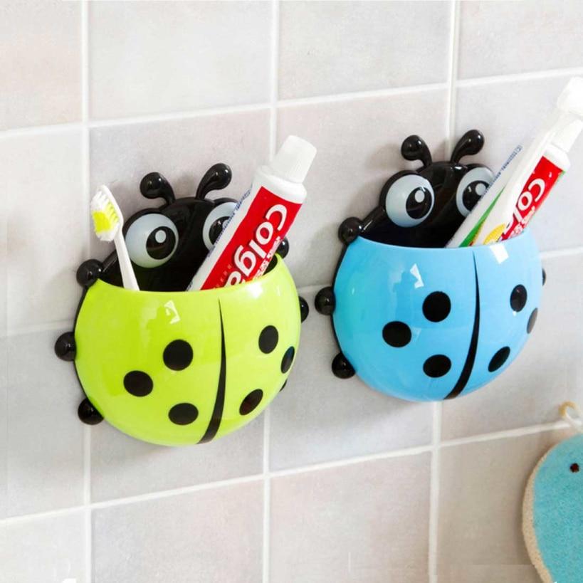 New Cute Cartoon Sucker Toothbrush Holder Ladybug Bathroom Set Toothbrush Organizer Dropshipping Bagno di Stoccaggio Hot Sale