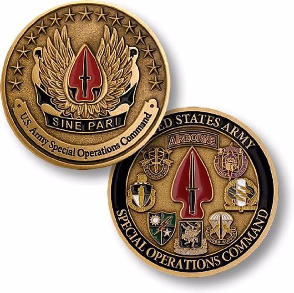 Free Shipping , U.S. Army Special Operations Command - Sine Pari - USASOC Challenge Coin