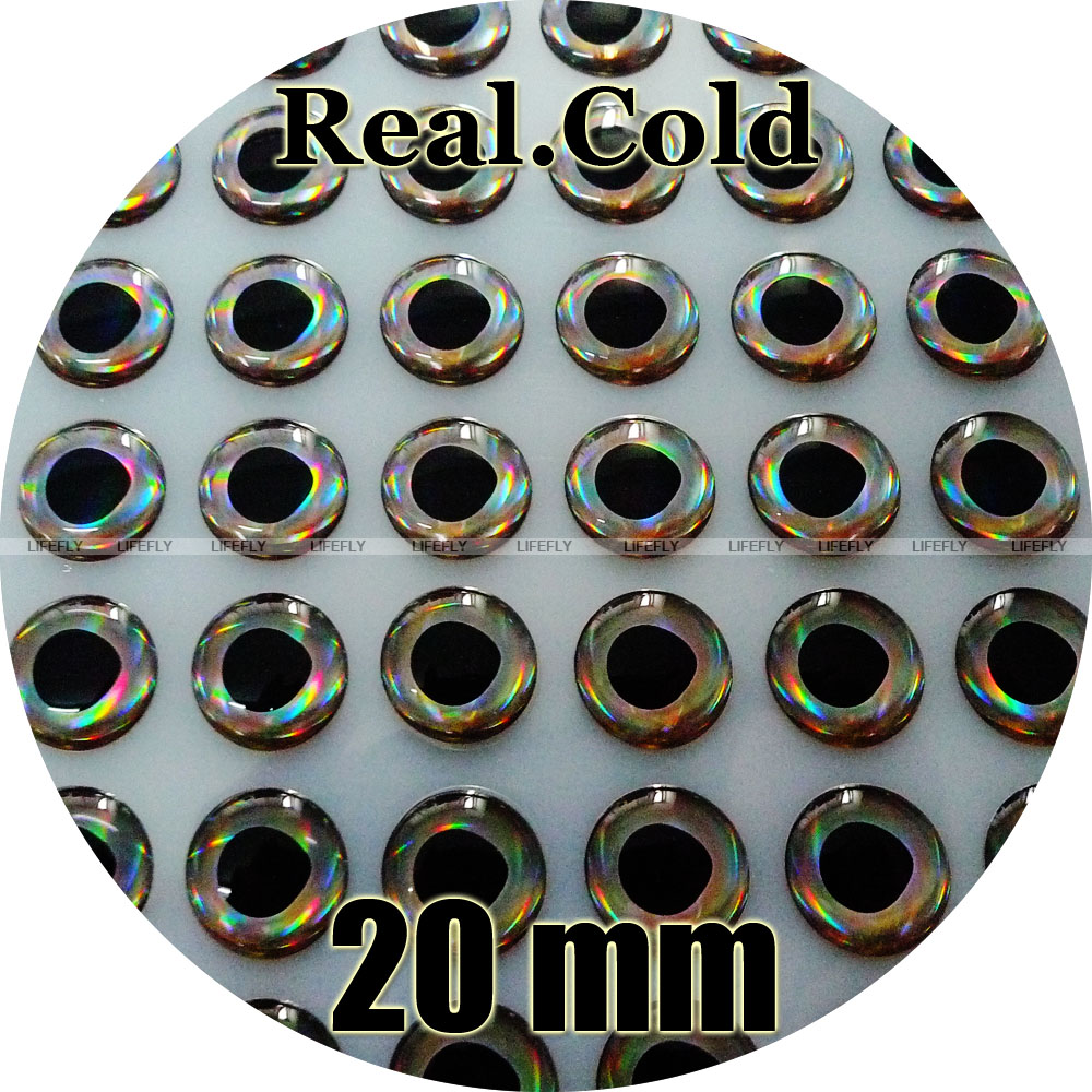 3D Molded Soft Holographic 6mm Fish Eyes 100 each-Black