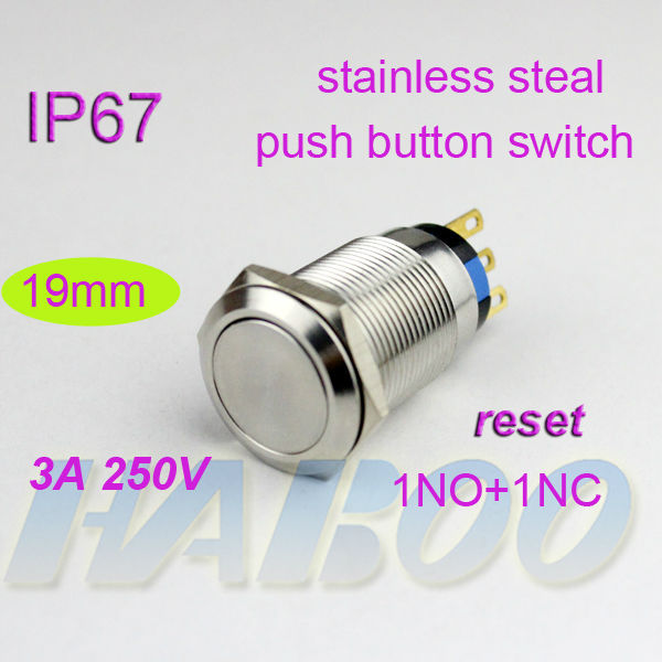 10pcs/lot waterproof IP67 HABOO dia.19mm anti-vandal reset momentary metal push button switch stainless steel 250V 3A