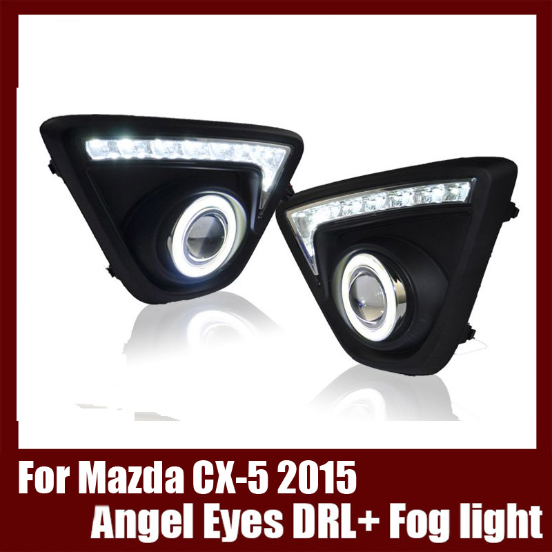Brand New For Mazda CX-5 2015 COB Angel Eyes DRL with Fog lights Projector Lens Lamp Bumper Cover brand new superb led cob angel eyes hid lamp projector lens foglights for vw tiguan 2010 2012
