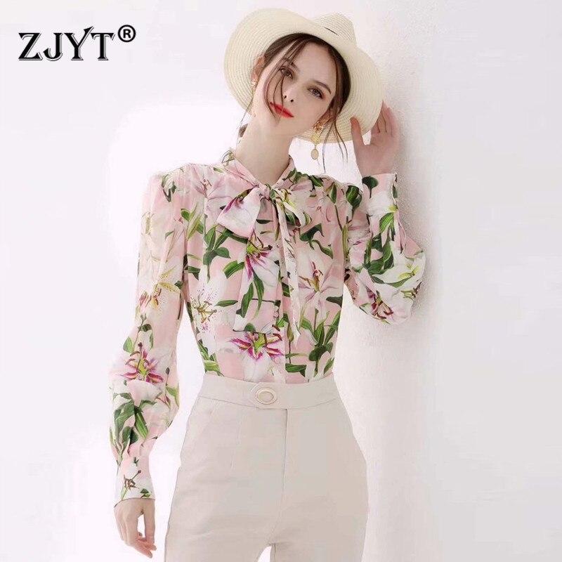 Automne mode piste Designer femmes haut et Blouses à manches longues arc col imprimé Floral grande taille 3XL bureau décontracté chemise dame