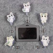 Beautiful Cat Badge Scroll Office Reel Women Cute Scalable Nurse Exhibition Entrance School Guard Card ID Girls  PU Holder