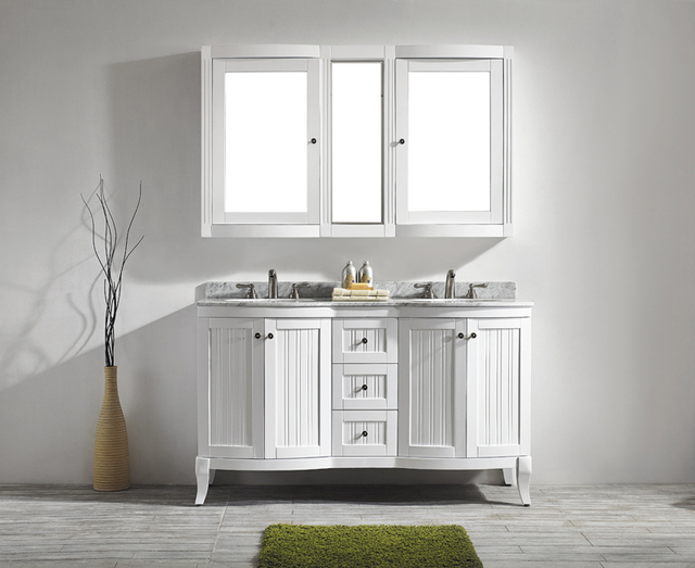 61Inch Antique White Bathroom Cabinet American Style Thailand Oak Solid  Wood Bathroom Vanity 4 Doors U0026