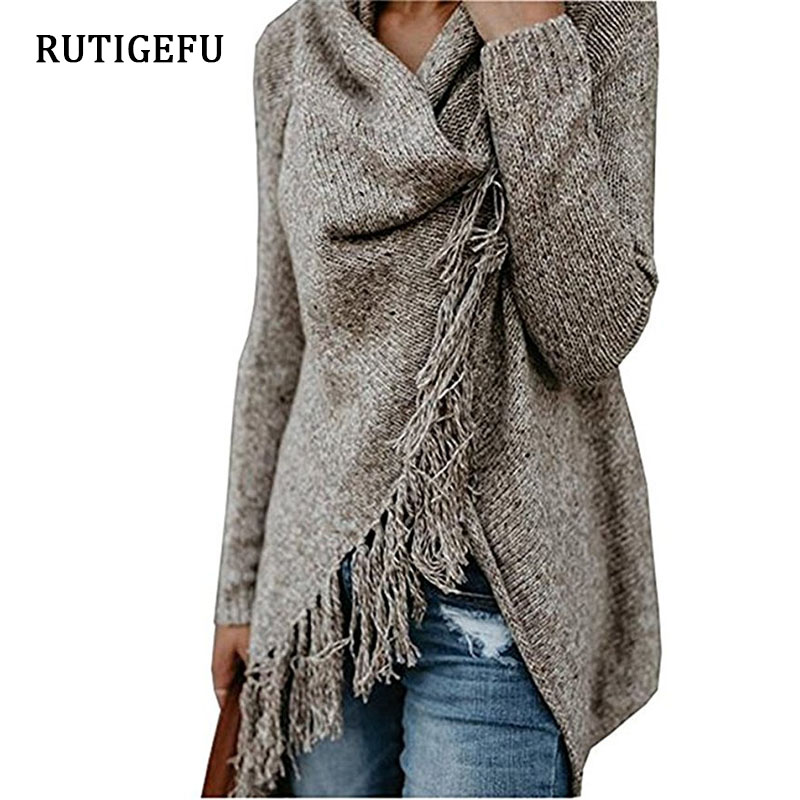 Autumn Fashion Fringed Scarf Collar Knit Cardigan Women's