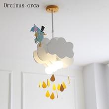 Люстра с изображением облака для мальчиков и девочек, спальня, детская комната, светильники, скандинавские минималистичные люстры, милые люстры