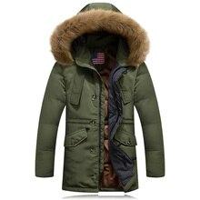 2016 winter jacket men 90% white duck down jacket plus size male slim parka medium-long thickening outerwear vintage jacket coat