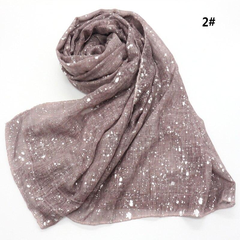 Women Fashion Plain Solid Glitter Oversized Viscose Scarf Ladies Shimmer Shawls and Wraps Pashmina Hijab Bufandas Muslim Sjaal