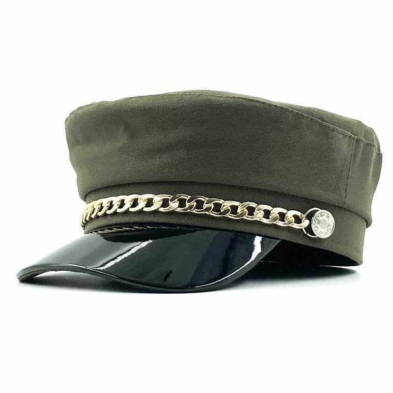 Nieuwe Winter Hoeden Vrouwen Wollen Krantenverkoper Caps Ketting Decoratie Vizier Caps Vrouwelijke Vintage Militaire Hoeden