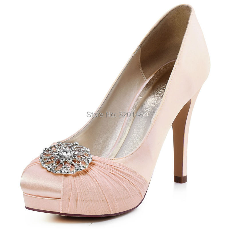 HC1609P Woman High Heel Bridal Wedding Shoes Closed Toe Platform Buckle Chiffon Lady Prom Party Pumps blue Red Pink Champagne navy blue woman bridal wedding sandals med heel peep toe bride bridesmaid lady evening dress shoes white ivory pink red hp1623