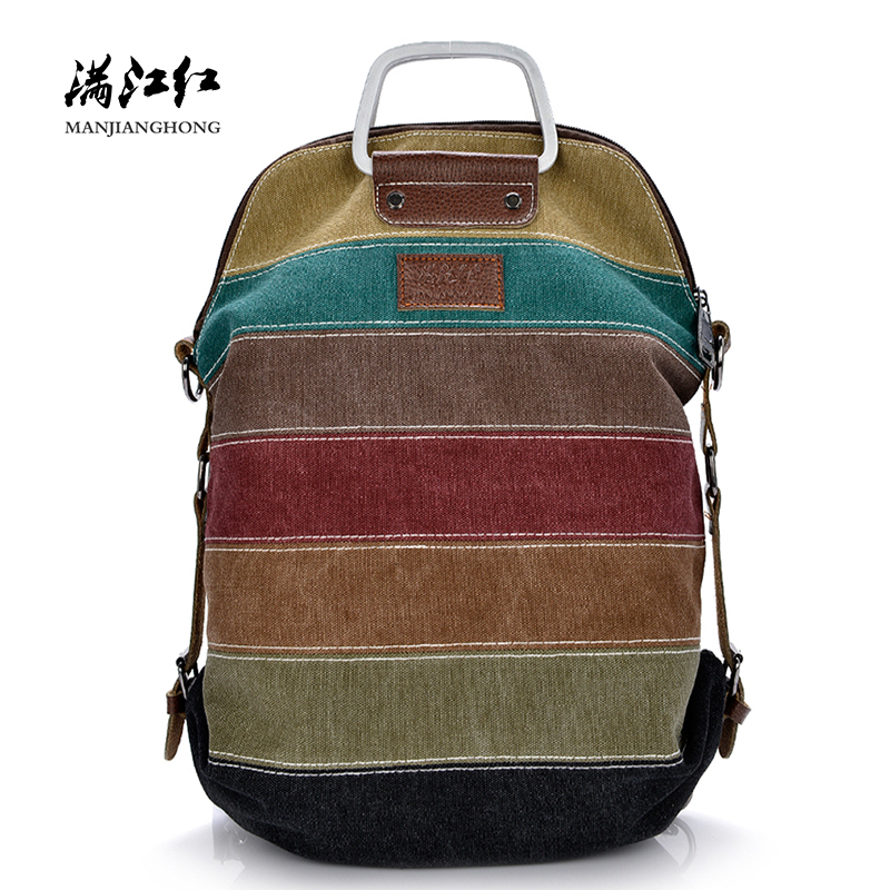 Multi-color Vintage Canvas Women Backpack Travel Patchwork Shoulder Backpack Women Casual School Bags For Teenage Girls 1091-1
