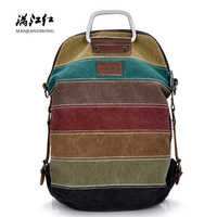 Multi color Vintage Canvas Women Backpack Travel Patchwork Shoulder Backpack Women Casual School Bags for Teenage Girls 1091 1